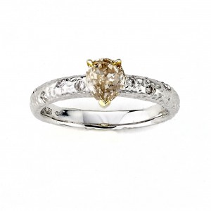 Diamonds for a Cure Two-tone Gold 4/5ct TDW Pear-cut Yellow Diamond Hammered Ring - Handcrafted By Name My Rings™