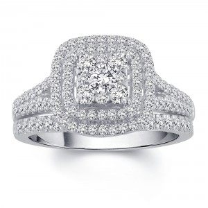 White Gold 1ct TDW Diamond Bridal Set - Handcrafted By Name My Rings™