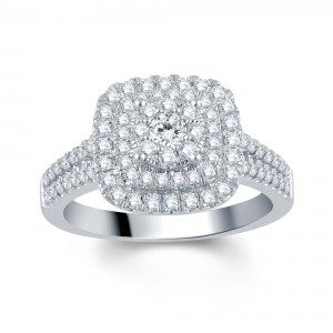 White Gold 1ct TDW Diamond Halo Engagement Ring - Handcrafted By Name My Rings™