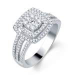 White Gold 3/4ct TDW Halo Diamond Bridal Ring - Handcrafted By Name My Rings™