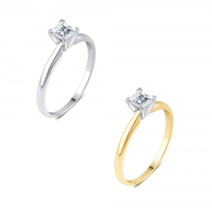 Gold 1/4ct TDW Princess-Cut Solitaire Diamond Engagement - Handcrafted By Name My Rings™