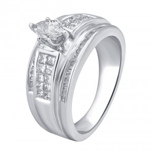 White Gold 1ct TDW White Diamond Marquise Engagement Ring - Handcrafted By Name My Rings™