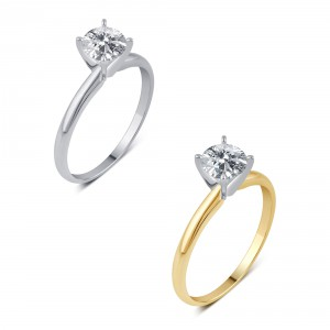 White and Gold 1/4ct TDW Solitaire Diamond Engagement Ring - Handcrafted By Name My Rings™