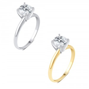 Gold 1ct TDW Diamond Solitaire Engagement Ring. - Handcrafted By Name My Rings™