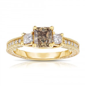 Gold 1 1/2ct TDW Cognac and White Diamond Ring - Handcrafted By Name My Rings™