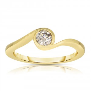 Gold 1/3ct TDW Solitaire Champagne Diamond Ring - Handcrafted By Name My Rings™