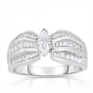 White Gold 1ct TDW Marquise-cut Solitaire Diamond Engagement Ring - Handcrafted By Name My Rings™