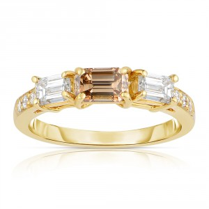 Gold 1 1/3ct TDW Cognac and White 3-stone Diamond Ring - Handcrafted By Name My Rings™