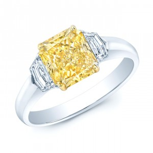Estie G Gold and Platinum 2 5/8ct TDW Radiant GIA-Certified Fancy Yellow Diamond Ring - Handcrafted By Name My Rings™