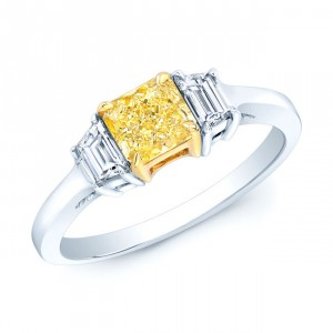 Estie G Platinum and Gold 7/8ct TDW GIA-certified Fancy Yellow Radiant-cut Diamond Ring - Handcrafted By Name My Rings™