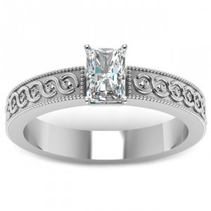 White Gold 1/2ct. TDW Radiant-cut Diamond Solitaire Milgrain Outline Engagement Ring - Handcrafted By Name My Rings™