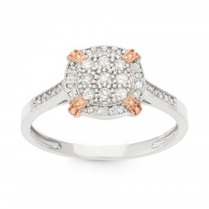 Gioelli Two-tone Gold 1/3ct TDW Diamond Cluster Ring - Handcrafted By Name My Rings™