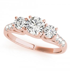 JewelMore Rose Gold 1/2ct TDW White Diamond Three-Stone Engagement Ring - Handcrafted By Name My Rings™
