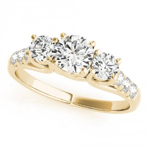 JewelMore Gold 1/4ct TDW White Diamond Three-Stone Engagement Ring - Handcrafted By Name My Rings™