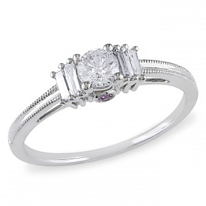 White Gold Baguette and Round-cut 1/2ct TDW Diamond Engagement Ring - Handcrafted By Name My Rings™