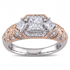 2-Tone White and Rose Gold 1ct TDW Diamond Princess and Round-cut Vintage Engagement Ring - Handcrafted By Name My Rings™