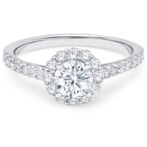 Gold 1 1/6ct TDW White Diamond Halo Cathedral Engagement Ring - Handcrafted By Name My Rings™