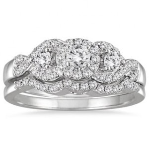 White Gold 5/8ct TDW 3-stone Diamond Cluster Bridal Set - Handcrafted By Name My Rings™