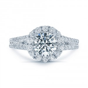 Matthew Ryan Design White Gold 1 3/4ct TDW Diamond Halo Engagement Ring - Handcrafted By Name My Rings™