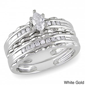 Gold 2/5ct TDW Diamond Bridal Ring Set - Handcrafted By Name My Rings™