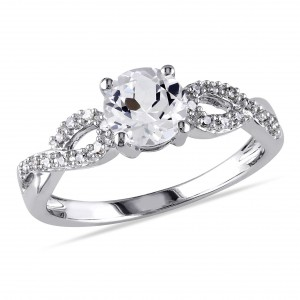 White Gold 1/10ct TDW Diamond and Created White Sapphire Engagement Ring - Handcrafted By Name My Rings™