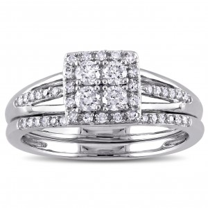 White Gold 1/2ct TDW Diamond Quad Halo Bridal Ring Set - Handcrafted By Name My Rings™