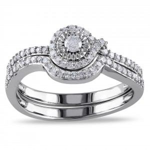 White Gold 1/3ct TDW Diamond Bridal Ring Set - Handcrafted By Name My Rings™