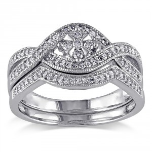 White Gold 1/3ct TDW Diamond Floral Bridal Ring Set - Handcrafted By Name My Rings™