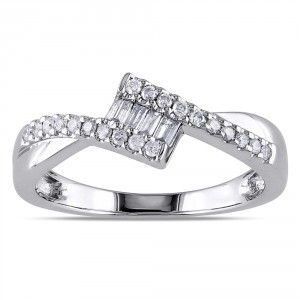 White Gold 1/4ct TDW Baguette Cut Diamond Ring - Handcrafted By Name My Rings™