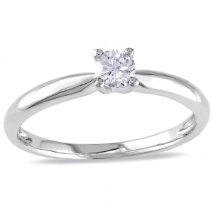 White Gold 1/4ct TDW Diamond Solitaire Engagement Ring - Handcrafted By Name My Rings™