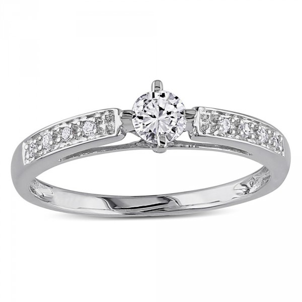 White Gold 1/4ct TDW White Round Diamond Ring - Handcrafted By Name My Rings™