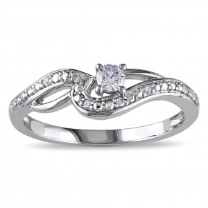 White Gold 1/6ct TDW Diamond Infinity Promise Ring - Handcrafted By Name My Rings™