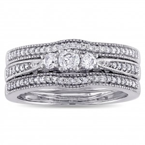 White Gold 2/5ct TDW Diamond Vintage 3-Stone Bridal Ring Set - Handcrafted By Name My Rings™