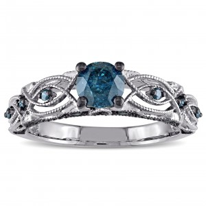 White Gold 4/5ct TDW Blue Diamond Vintage Filigree Engagement Ring - Handcrafted By Name My Rings™