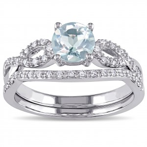 White Gold Aquamarine and 1/6ct TDW Diamond Bridal Ring Set - Handcrafted By Name My Rings™