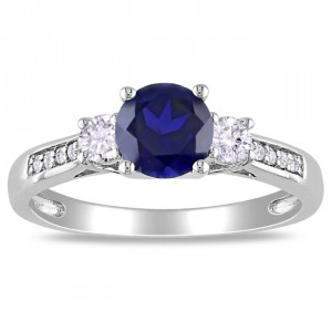 White Gold Created Sapphire and Diamond Accent Ring - Handcrafted By Name My Rings™