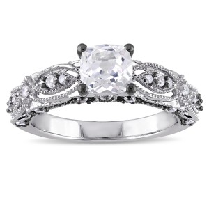 White Gold Cushion-cut Created White Sapphire and Diamond Accent Vintage Filigree Engage - Handcrafted By Name My Rings™