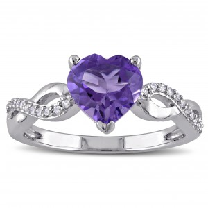 White Gold Heart-Cut Amethyst and 1/10ct TDW Diamond Infinity Engagement Ring - Handcrafted By Name My Rings™