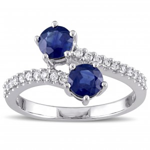 White Gold Sapphire and 1/5ct TDW Diamond Bypass Ring - Handcrafted By Name My Rings™