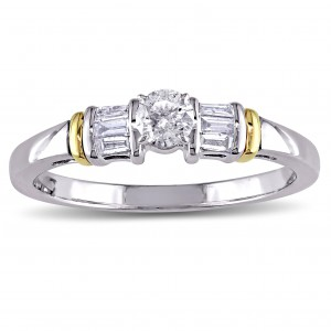 White Gold 3/8ct TDW Round and Tapered Baguette Diamond 3-Stone Engagement Ring - Handcrafted By Name My Rings™
