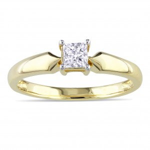 Gold 1/3ct TDW Diamond Solitaire Ring - Handcrafted By Name My Rings™