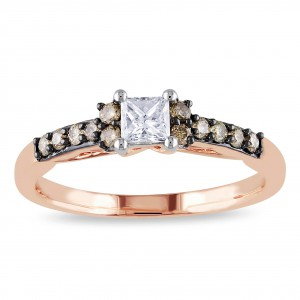 Rose Gold 1/2ct TDW Brown and White Diamond Engagement Ring - Handcrafted By Name My Rings™