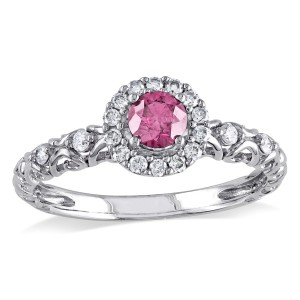 White Gold 1/2ct TDW Pink and White Diamond Halo Ring - Handcrafted By Name My Rings™