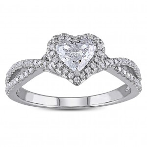 White Gold 1ct TDW Heart-cut Diamond Split Shank Halo Engagement Ring - Handcrafted By Name My Rings™
