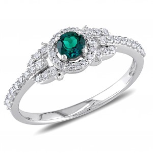 White Gold Created Emerald and 1/3ct TDW Diamond Ring - Handcrafted By Name My Rings™