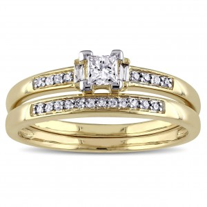Gold 1/3ct TDW Diamond Bridal Ring Set - Handcrafted By Name My Rings™
