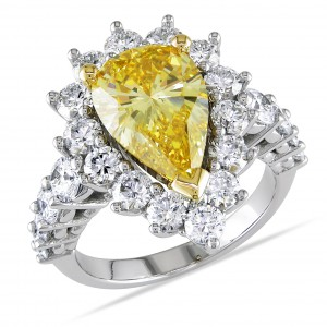 19k Gold 5 1/2ct TDW Certified Yellow and White Diamond Ring - Handcrafted By Name My Rings™
