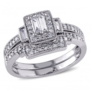 2/5ct TDW Parallel Baguette and Round-Cut Diamond Square Vintage Bridal Set in White Gold - Handcrafted By Name My Rings™
