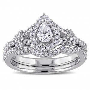 7/8ct TDW Pear and Round-Cut Diamond Halo Split Shank Bridal Ring Set in White Goldado - Handcrafted By Name My Rings™