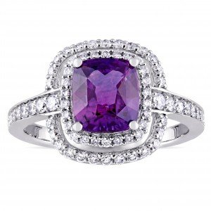 Signature White Gold Cushion-Cut Violet Sapphire and 1/2ct TDW Double Halo Engagement Ring - Handcrafted By Name My Rings™